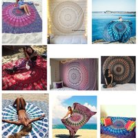 Wholesale Polyester Indian Mandala Square Rectangle Beach Throw Tapestry with Tassels Hippy Boho Gypsy Polyester Tablecloth Beach Towel Mat