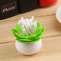 Wholesale New Lotus Flower Cotton swab box bud base room decorate Toothpicks holder Toothpick case Home Storage Organizer Household