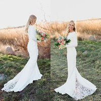 Wholesale Spring Bohemian Mermaid Wedding Dresses Jewel Neck Fit and Flare Court Train Long Sleeve White Jersey and Lace Bridal Wedding Gowns