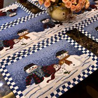Wholesale Three snowman Europe and the United States polyester cotton jacquard series Christmas table flag tablecloth
