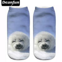 Wholesale Deanfun New D Printed Seal Women Socks Cute Low Cut Ankle Sock Multiple Colors Fashion Style CNW93
