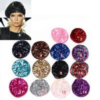 Venta al por mayor-Mujer Señora Estiramiento Metálico Brillante Sequin Beret Hat Partido Beanie Cap Club Dance En stock