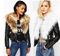 Precio de Leather jackets-Cuello caliente de la piel Mujeres impermeables de la chaqueta de cuero Mujeres Motocicleta 2016 colete de pele manga larga punky faux fur Coat