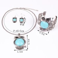 Wholesale Fashion Turquoise Vintage Jewelry set Owl chunky necklace Bangle earring set