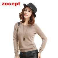 Wholesale zocept Women s Casual Full Sleeve Solid O Neck Cashmere Blend Sweaters Spring Autumn Winter Female Warm Knitted Pullovers