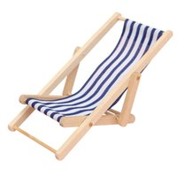 Wholesale New High Quality DIY Dolls House Miniature Foldable Wooden Deckchair Lounge Beach Chair Hot Sale Blue