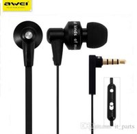Wholesale Original Awei ES hi Super Bass In ear Earphone with m Cable Mic Volume Control for Smartphone Tablet PC fone de ouvido