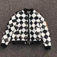 Wholesale 2017 Off White Winter Thick Tartan Jacket Hiphop Men Cotton padded Jacket Coat Pu Leather Belt Inside OFF White C o Virgil Abloh