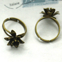 Gold adjustable ring blanks gold - 50X Silver DIY Flower Ring Setting Base Jewelry Parts for coppper nbsp Adjustable RING BLANK BASE nbsp Jewelry accessories