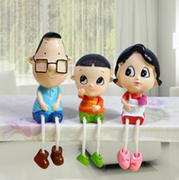 Wholesale Resin Doll Partition Decorated Big Head Son Little Father Dad A Family of Three Hanging Feet Decorated Ornaments