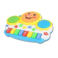 bass drum light - Sale Light Up Music Smile Drum Electronic Multifunctional Hand Drum Eeyboard Childhood Learning Musical Toys