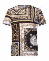 baroque shorts - New Arrival Strip Gold and Black Luxury Brand T shirt For Men Slim Fit Baroque Mens Tee Shirt Social Royal Camisas