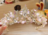 Wholesale 2016 pink gold crystal tiaras tiara wedding accessories bridal hair jewelry party rhinestone big baroque crowns TB21