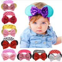 Casual Pants baby girl headbands free shipping - New girls Bow headbands baby sequins bowknot headband girls Striped cotton infants headbands Handmade baby headbands mix order