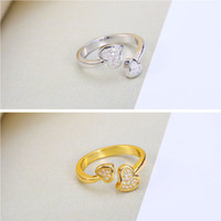 Wholesale Heart Fine Jewelry Crystal AAA CZ Opening Couple Engagement Rings Two Color Charms Silver K Gold plated Copper Hot Sales