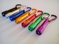 Cheap Colorful Mini LED Flashlight Keychain Aluminum Alloy Torch with Carabiner Ring Keyrings LED mini Flashlight Mini-light free shipping