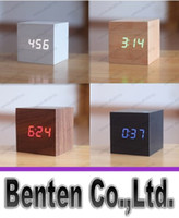 Wholesale promotion Multi colors Best High end Digital Clocks Desktop Clock Home Decor Thermometer Wooden LED Alarm Clock LLFA