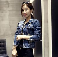 Wholesale Spring and Autumn new Korean wild personality holes denim shorts jacket for women fashion coat denim jacket