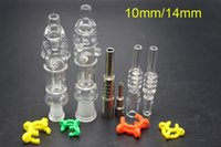 Bon Marché Tuyaux d'huile de miel-Mini tubulure de collecteur de collecteur de nerf avec 10mm 14mm GR2 Titane Nail Quartz Tip Oil Rigs Concentré Honey Dab Straw Glass Bongs