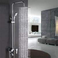 bao de lujo cromo moderna lluvia de ducha de cabeza de bao de pared montada en la cabeza de la ducha de mano grifo de mezclador de grifo conjunto