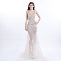 beautiful perspective - 2017 Sexy Evening Dresses Beaded V Neck Sleeveless Perspective Prom Dresses In Stock Open Back Sweep Train Formal Party Gowns Beautiful