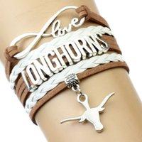 achat en gros de bracelets infini brun-(10 Pièces / Lot) Infinity Love NCAA Université du Texas Longhorns Bracelet Selle Brown White - Custom Sports Bracelets Cheer