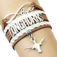 al por mayor pulseras marrones del infinito-(10 Piezas / Lote) Infinity Love NCAA Universidad de Texas Longhorns Bracelet Saddle Brown White - Personalizado Deportes Cheer Bracelets