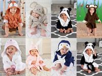Wholesale Kids Baby Flannel Pajamas With Hoods Hat Autumn Long Sleeves Bathrobes Cute Cartoon Fox Orange Rabbit Animal Monkey Robes