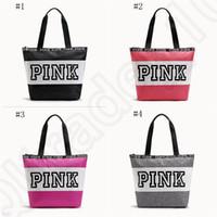 Wholesale Pink Letter Handbags Women Waterproof Shopping Bags Messenger Bags Shoulder bag Large Capacity Striped Travel Duffle Beach Bag OOA1056