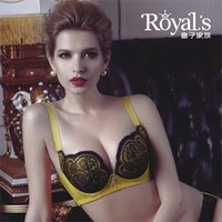 Wholesale Royal s Ladies underwear sexy thin bra lace side close inclusive bra size D C cup yellow blue