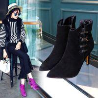 al por mayor botas de tacón de color púrpura-Dames Jas Elegante Side Cross Tie Strap Ankle Boots Señoras Púrpura Encanto Suede De Cuero De Tacón Alto Zapatos De La Boda