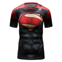 Wholesale superman Male short sleeved tights Gym Fitness Wear breathable wicking outdoor running speed dry clothing Pro shirt