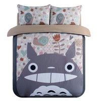 bedding set fabric - Japanese Anime Lucky Cat Cartoon My Neighbor Totoro Bedding Set Soft Fabric Duvet Cover Set Kids Bed Sheets Twin Queen King Size