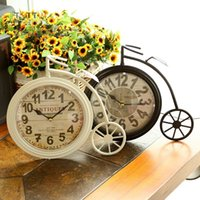 antique work tables - Retro nostalgia big wheel bike wrought iron table clock clock bell household act the role of single clock