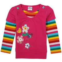 belle stores - The rainbow girls long sleeved clothes color mosaic pattern of cotton ball can not afford comfortable campus Belle stores recommend