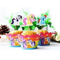Wholesale Set designs My little Pony Cupcake Topper Pick Magic ponies topper picks Children birthday event party decorations favor
