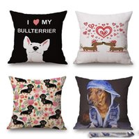 Wholesale Hot Sale Dachshund Cushion Cover Christmas Festival Pillow Case Sausage Dog Bull Terrier Oil Paint pillow cover Bedroom Sofa decoration