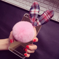 apple hair bow - New South Korea mirror apple seven lovely hair bulb retro grid bow case iphone6s plus following