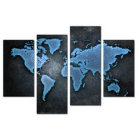 Wholesale LK407U Panel World Map Wall Art Canvas Abstract Oil Paintings Contemporary For Living Room Home Deco Unframed Framed x47Inches Ship Free