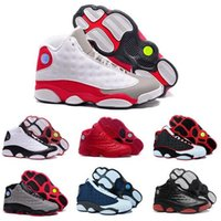 Wholesale 2017 top quality air retro XIII mans Basketball Shoes Bred Navy Game hologram grey toe Flint Grey Athletics Sport Sneaker Boots