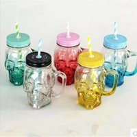 ECO Friendly beaker lid - 500ml Double glass Beer glass Skull Cup Gradient color Take the glass European style Beaker with lid