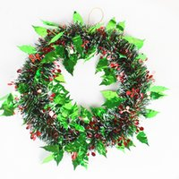 beautiful christmas wreath - 2016 Christmas Decoration Dark Green Wreath Tops White Edge Ribbon Garland New Year Enfeites De Natal Beautiful Noel Christmas