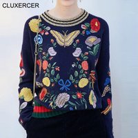 Wholesale CLUXERCER Brand Winter Embroidery Girl Loose Pullover Sweater Women O neck Knitted Sweater Pullovers sweater women jumper