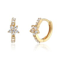 Wholesale 925 Jewelry Cubic Zirconia Sterling Silver K Gold Plated Flower White Earrings Imitation Jewelry