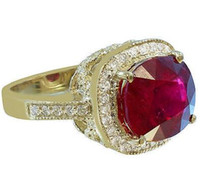 Middle Eastern antique cushion cut diamond - 18K YELLOW GOLD CUSHION RUBY AND ROUND CUT DIAMOND ANTIQUE DESIGN RING CTW