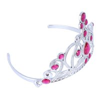 anna rose hair - Hot sale Silvery Hair Hoop with Rose Red Heart Diamond Plastic The Frozen Anna Crown children s day Gift
