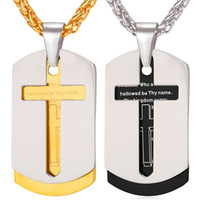 bible necklace - Cross Necklace Pendant Christian Jewelry K Real Gold Plated Stainless Steel Bible Lords Prayer Dog Tags for Men