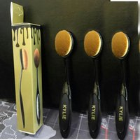 Wholesale KYLIE Face Brushes Makeup Brushes Oval Face Brush Mermaid Foundation Brush with retail box