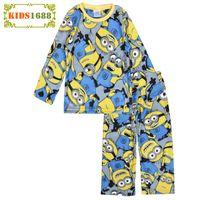 baby nightgown patterns - 2017 Anime Pattern Kids Pajamas Brand Cartoon Printed Kids Set Long Sleeve Warm Baby Winter Clothes Fashion Yellow Pyjamas Kids