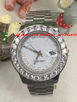 Precio de Cerámica blanca reloj de pulsera-Moda de lujo reloj de pulsera asombroso Hombre Día-Fecha 2 II 18k 41MM Presidente Oro Blanco más grande diamante de cerámica bisel mecánico Relojes Hombre